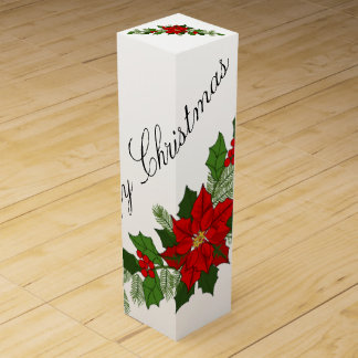 Merry Christmas Poinsettia Wine Gift Box