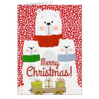 Merry Christmas Polar Bears | Personalized Card