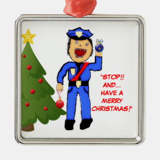 Merry Christmas Police Officer Silver-Colored Square Ornament