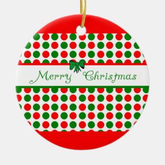 Merry Christmas Polka Dots Ceramic Ornament