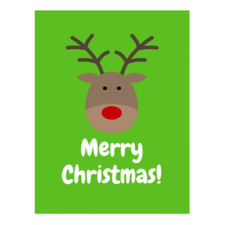 Merry Christmas postcards with cute reindeer logo