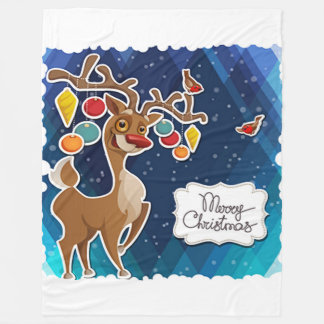 Merry Christmas Prancing Reindeer Fleece Blanket