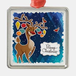 Merry Christmas Prancing Reindeer Metal Ornament
