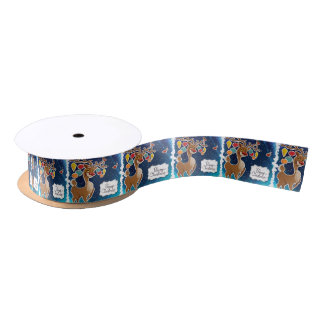 Merry Christmas Prancing Reindeer Satin Ribbon