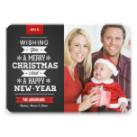 Merry Christmas Preppy Chalkboard Photo Card