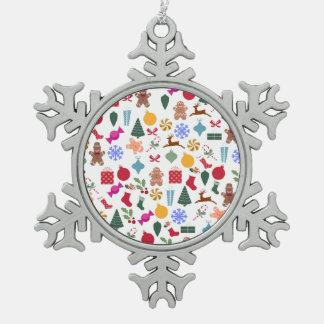 Merry Christmas Print Pewter Snowflake Ornament