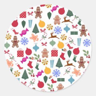 Merry Christmas Print Round Sticker