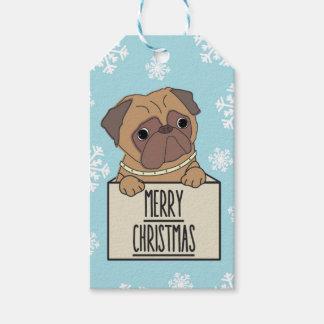 Merry Christmas Pug Face Dog Snowflake Gift Tags