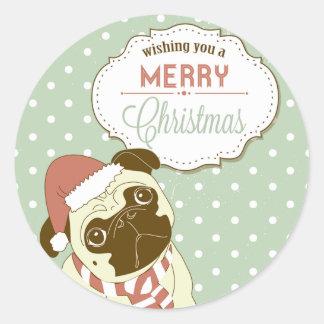 Merry Christmas Pug Round Stickers