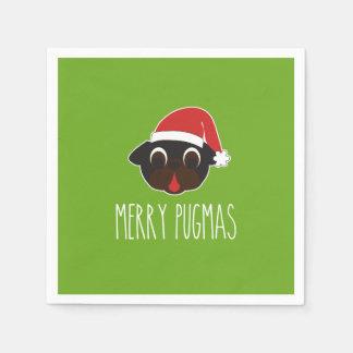 Merry Christmas Pugmas Black Pug Santa Christmas Paper Napkins
