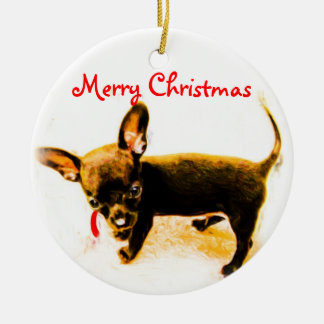 Merry Christmas Puppy Ceramic Ornament