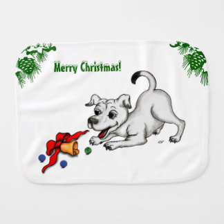 Merry Christmas! Puppy with Bell and Ball Burp Cloth