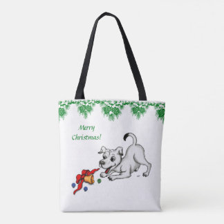Merry Christmas! Puppy with Bell and Ball Tote Bag