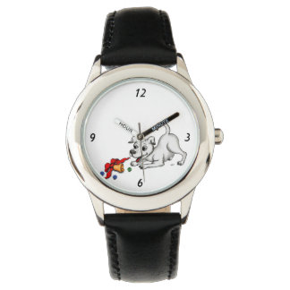 Merry Christmas! Puppy with Bell and Ball Wrist Watch