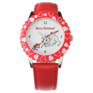 Merry Christmas! Puppy with Bell and Ball Wristwatch