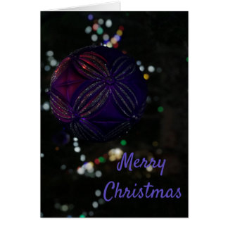 Merry Christmas Purple Ornament Card