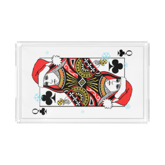 Merry Christmas Queen of Clubs Acrylic Tray
