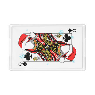 Merry Christmas Queen of Clubs - Add Your Images Acrylic Tray