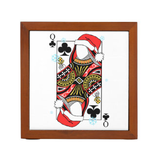 Merry Christmas Queen of Clubs - Add Your Images Desk Organizer