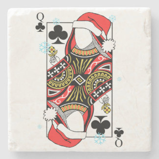 Merry Christmas Queen of Clubs - Add Your Images Stone Coaster