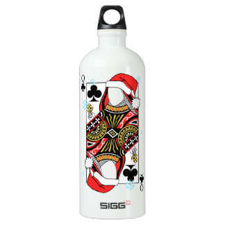 Merry Christmas Queen of Clubs - Add Your Images Water Bottle