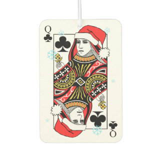 Merry Christmas Queen of Clubs Car Air Freshener