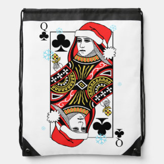 Merry Christmas Queen of Clubs Drawstring Bag