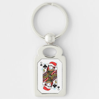 Merry Christmas Queen of Clubs Keychain