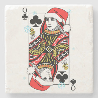 Merry Christmas Queen of Clubs Stone Coaster
