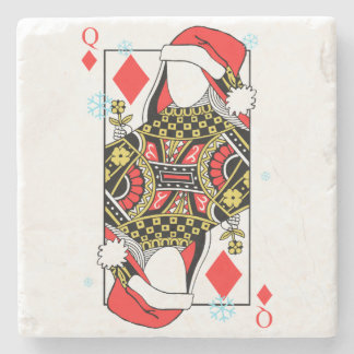 Merry Christmas Queen of Diamonds-Add Your Images Stone Coaster
