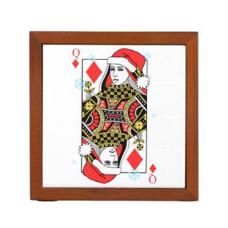 Merry Christmas Queen of Diamonds Desk Organizer