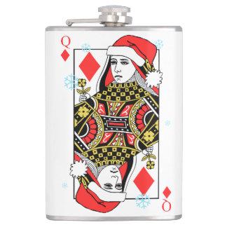 Merry Christmas Queen of Diamonds Flask