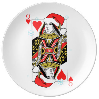 Merry Christmas Queen of Hearts Porcelain Plates