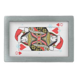 Merry Christmas Queen of Hearts Rectangular Belt Buckles