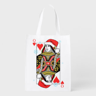 Merry Christmas Queen of Hearts Reusable Grocery Bag