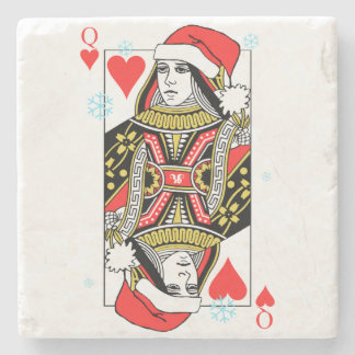Merry Christmas Queen of Hearts Stone Coaster