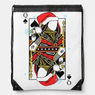 Merry Christmas Queen of Spades - Add Your Images Drawstring Bag