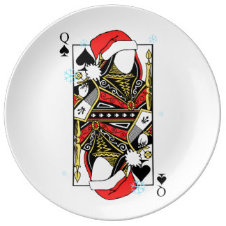 Merry Christmas Queen of Spades - Add Your Images Porcelain Plates