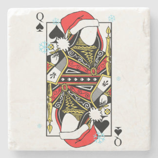 Merry Christmas Queen of Spades - Add Your Images Stone Coaster