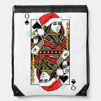 Merry Christmas Queen of Spades Drawstring Bag