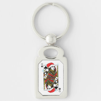 Merry Christmas Queen of Spades Keychain