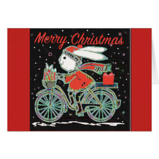 Merry Christmas Rabbit on a Bicycle - Cycling Xmas Card