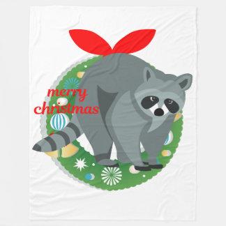 merry christmas raccoon blanket