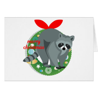 merry christmas raccoon card