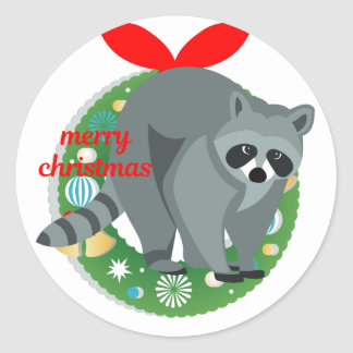 merry christmas raccoon classic round sticker