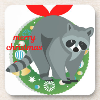 merry christmas raccoon coaster