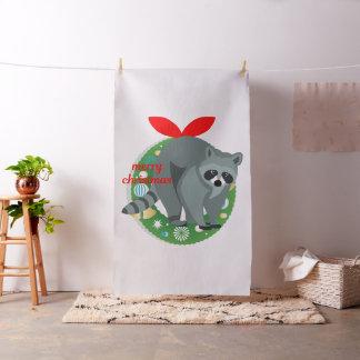 merry christmas raccoon fabric