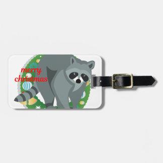 merry christmas raccoon luggage tag