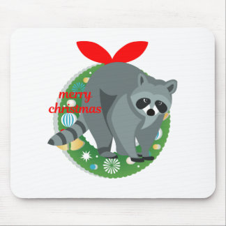 merry christmas raccoon mouse pad