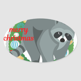 merry christmas raccoon oval sticker